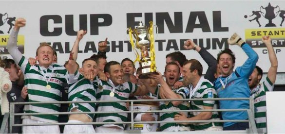 Shamrock Rovers celebrate their second Setanta Sports Cup crown.